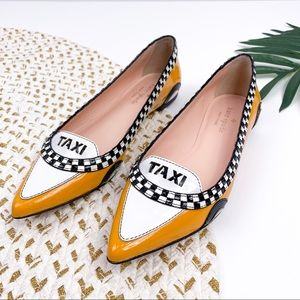 Kate Spade Go Taxi Orange Black Leather Flats